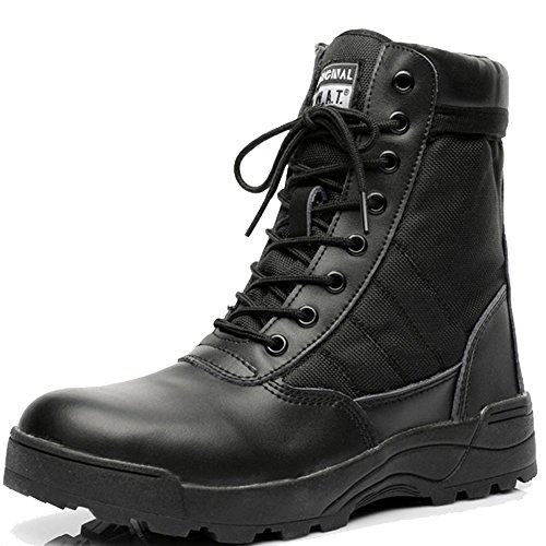 LiliChan SWAT Herren Taktische Lederstiefel mit Reißverschluss Hoch Oben Schuhe (44, schwarz) (Kalb Boot Weit)