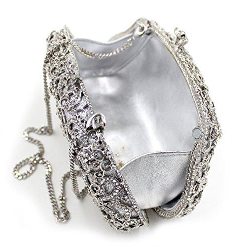 Damen Abendkleider Paket Diamant Abendessen Paket High-End-volle Diamant-Handtasche Bankett-Paket Silver