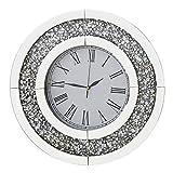 RICHTOP Wanduhr Groß lautlos schwarz Samt umwickelt Holz Back Quartz Uhren rund Spiegel Design mit Glitzern Diamant ohne tickgeräusche 50cm für Wohnzimmer, küche, Schlafzimmer,(No Batterie)