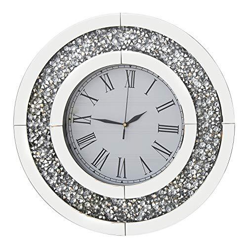 RICHTOP Wanduhr Groß Fast Lautlos Schwarz Samt Umwickelt Holz Back Quartz Uhren Rund Spiegel Design mit Glitzern Diamant 50cm für Wohnzimmer, Küche, Schlafzimmer,(No Batterie)