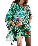L-Peach Donna Stampa Floreale Verde Tunica da Spiaggia Parei Copricostume Copribikini Cover Up Beachwear