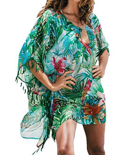 L-Peach Damen Grüner Blumendruck Tunika Pareo Strandkleid Bikini Coverups One Size