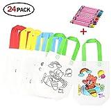 Isuper 12 Stück Bunte Taschen, DIY Graffiti Taschen, Kommunionen, Schulen, Kindergarten und Feiern, 12 Verschiedene Design + 12 Buntstifte