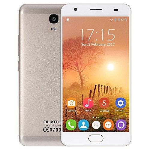 OUKITEL K6000 PLUS 2017 Android 7.0 4G-LTE Smartphone con SIM dual contratado (pantalla FHD de 5,5 pulgadas, ROM de 64 GB + 4 GB de RAM, MTK6750T Octa Core de 1.5GHz, cámara dual de 16MP + 8MP, carga rápida de 6080mAh) (Oro)