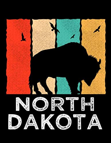 North Dakota: Vintage Distressed North Dakota 70s 80s Retro ND Notebook Journal 120 Pages 8.5x11 size