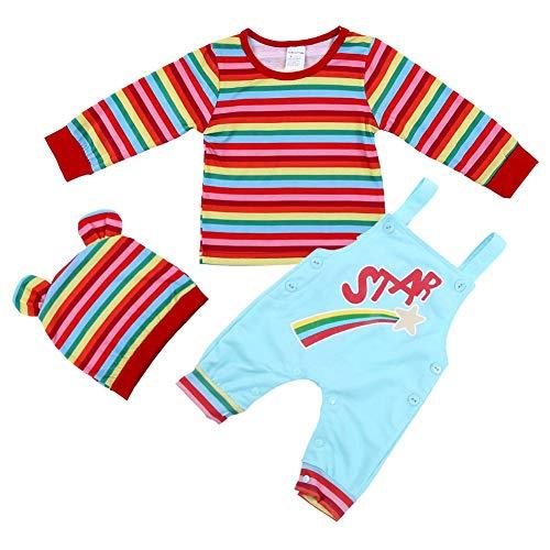 e3b1d6387 3 Stücke Neugeborenes Baby Jungen Mädchen Kleidung Set Weiche Baumwolle  Regenbogen Gestreiftes T-shirt Sweatshirt