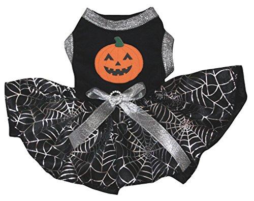 Spider Tutu Kostüme (petitebelle Puppy Kleidung Hund Kleid Kürbis schwarz Top Silber Cobweb)