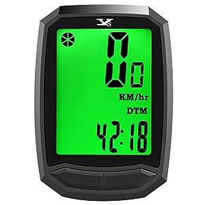 Cuentakilómetros para bicicleta YS inalámbrico impermeable con retroiluminación gran pantalla LCD de HD de pantalla auto despierta muti-funcion para bicicleta Velocímetro y bicicleta de montaña