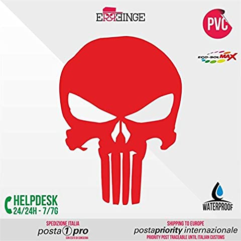 [ERREINGE] STICKER PRE-SPACED rosso 12cm - Punisher Schädel Skull JDM DUB Illest Vw Hoonigan Tuning Racing Drift - Aufkleber Decal Transfer Vinyl Wandaufkleber Laptop Auto Motorrad Helm Camper
