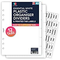 NBplanner® 12 piezas separadores de plástico & CLEAR TAB LABELS Filofax compatible Inglés A5