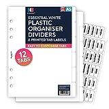 Nbplanner® 12divisori in plastica e parte trasparente Tab etichette Filofax compatibile inglese A5