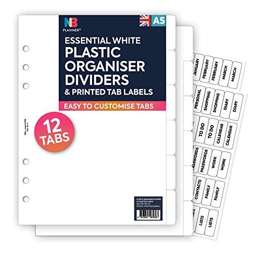 Nbplanner - Lot de 12intercalaires en plastique avec étiquettes pour onglets - Compatible Filofax (en anglais) a5