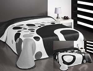 170 x 210 cm tagesdecke schwarz grau wei zweiseitig bett berwurf pflegeleicht elegant kreis. Black Bedroom Furniture Sets. Home Design Ideas