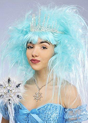 Deluxe Aqua Blue Schnee-Königin-Perücke mit (Blue Ice Queen Kostüm)