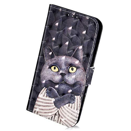 Herbests Kompatibel mit Samsung Galaxy A7 2018 Handyhülle Leder Klapphülle Glitzer Bling 3D Bunt Retro Muster Schutzhülle Flip Case Leder Tasche Handytasche Lederhülle,Schwarz Katze