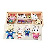 Cartoon conejo cambio ropa de madera Puzzles Juguetes educativos Montessori vestido evolución Jigsaw Puzzle Juguetes para los niños niña dingze