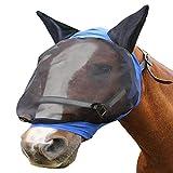 ROKF Fliegenmaske für Pferde, Fliegenmaske mit Ohren, atmungsaktiv, Pferdeohren, Nasenschutz, halbe Gesichtsmaske