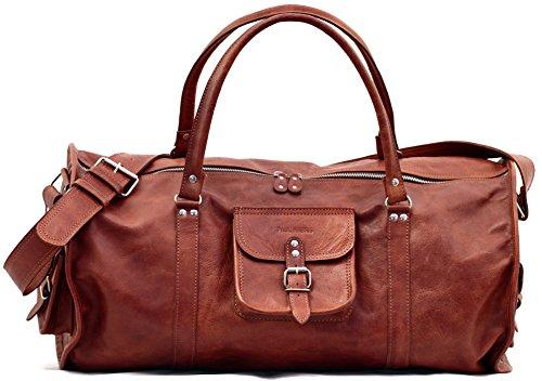 LE VOYAGEUR L Braun Reisetasche aus Leder PAUL MARIUS Größe L Freizeittasche Henkeltasche Tragetasche