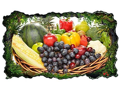 3D Wandtattoo Obst Früchte Korb Gesundheit Küche Bild selbstklebend Wandbild sticker Wohnzimmer Wand Aufkleber 11H393, Wandbild Größe F:ca. 97cmx57cm (Früchte-wand-aufkleber)