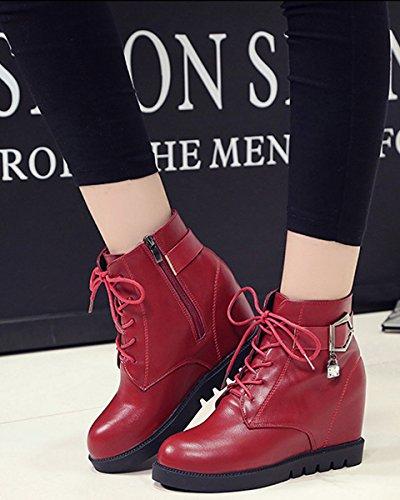 Moda Vermelho Botas Zipper De Fechamento Inverno Tornozelo Martin Senhoras Botas Estilo De Outono Britânico Minetom Sapatos xzSZwIqS
