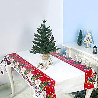 osmanthusFrag Mantel De Navidad, Cubierta De Mesa De Patrón De Santa Decoración De Fiesta De Colchoneta Impermeable De PVC