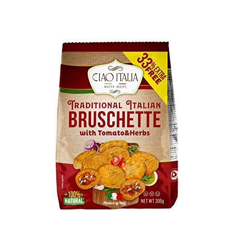 Ciao Italia, Traditional Italian Bruschette with Tomato & Herbs - Crunchy Bread Biscuits, Dairy, and Egg Free, 100 Natural Healthy Snacks - Garlic Bread, 200g Pack of 10