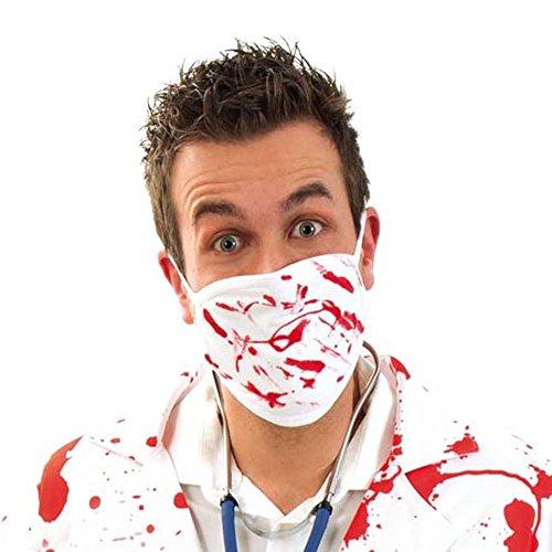 KarnevalsTeufel Mundschutz mit Blut, Mundmaske, weiß, Accessoire, Halloween