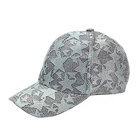 Baseball Kappe Holeider Unisex Spitze Sternmuster HipHop Hut (Grau) (Kind Blau-ara-kostüm)