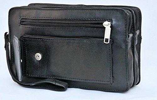 Bag Street Leder Handgelenktasche mit Doppelkammer