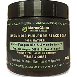 Savon Noir Marocain à l'huile d'argan BIO et l'Amandes amères, 250g,100% traditionnel Beldi. Anti-rides mondialement connu. Gommage au savon noir naturel pour une peau douce, RICHE en Vitamine E