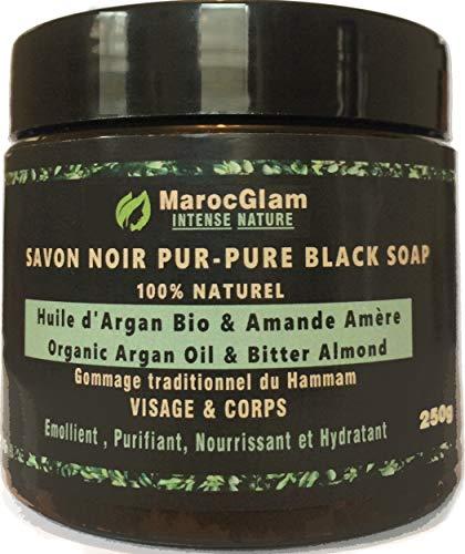 Savon Noir Marocain à l'huile d'argan BIO et l'Amandes amères, 250g,100% traditionnel Beldi....