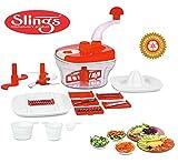 Slings 14 pcs Manual Food Processor - Chopper, Blender, Atta Maker, Dough Kneader- Red