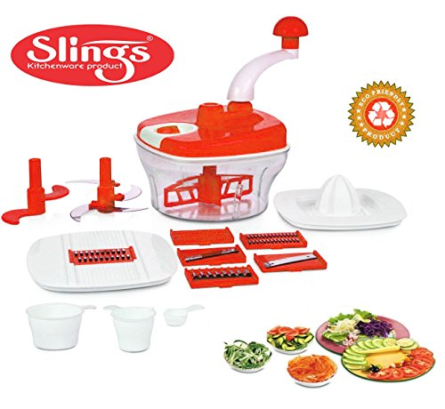 Slings 14 pcs Manual Food Processor - Chopper, Blender, Atta Maker, Dough Kneader- Red  available at amazon for Rs.395