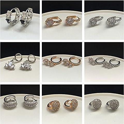Fashion Elegant Women Gold Silver Cubic Zirconia Flower Ear Stud Hoop Earrings ,Gold Pear&Emerald