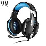KOTION Chat Gaming Headset für PS4, Xbox One und Nintendo Switch, PC/Mac/Handy/Playstation 4 Over-Ear Kopfhörer mit Mirkrofon, Lärmminderung, Schwarz & Blau