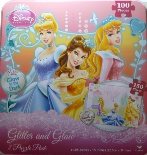 cesses Puzzle Sparkle & Glitter Glow in the Dark Puzzles Includes Storage Tin by Disney ()