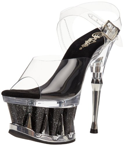 Pleaser Spiky-608mg, Scarpe Col Tacco Donna Transparent (Clr/Blk-Clr)