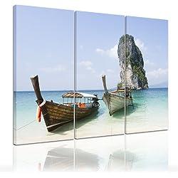 Bilderdepot24 bastidor imagen - Cuadros en Lienzo Barco de pesca (Tailandia) 120x80cm 3 partes. - Made in Germany!