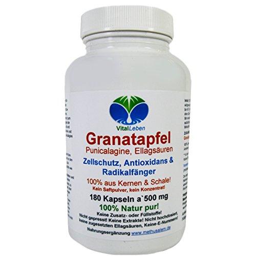 Granatapfel, 100% aus Kernen & Schale, 180 Pulver-Kapseln a 500mg, #25772