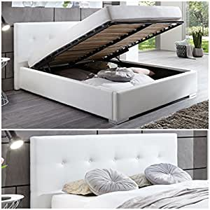 polsterbett kunstleder bett mit bettkasten lattenrost 140x200 weiss doppelbett k che. Black Bedroom Furniture Sets. Home Design Ideas