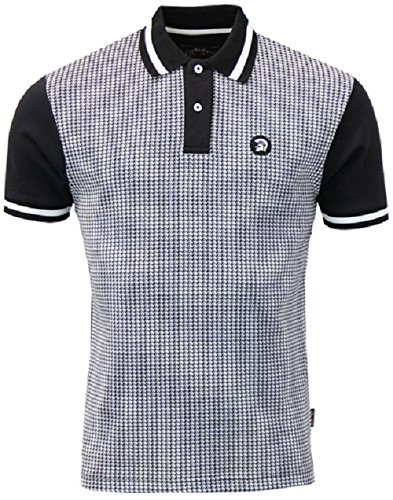 trojan-records-mens-tr-8181-houndstooth-front-polo-shirt-black-xl