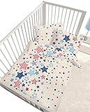 Biancheria da letto per bambini, 2 pezzi 100 x 135, 40 x 60, flanella, stelle blu rosso