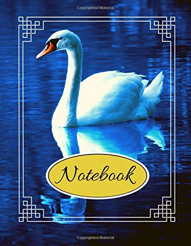 Notebook: Beautiful White Swan Blue Writing Gift - Lined NOTEBOOK, 130 pages, 8.5