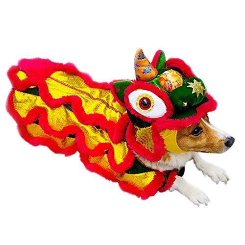 Dance Lion Kostüm - Smilikee Hund Lion Dance Kostüm Lucky Dragon Dance Kleidung für Hund Cosplay Kostüm
