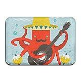 QUEEKINWANG Doormats Entrance Mat Mustache Octopus Playing Guitar Front Door Mats Outdoors/Indoor/Bathroom/Kitchen/Bedroom/Entryway Floor Mats,Non-Slip Rubber,Low-Profile