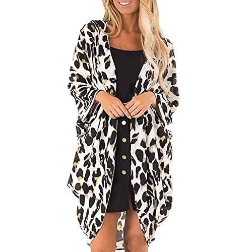FRAUIT Damen Leopard Print Cardigan Bikini Cover Up Tops Anzug Bademode Strand Badeanzug Kittel Chiffon Kimono Bluse Strandkleid (Leopard Kittel)