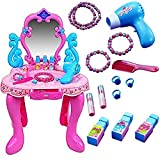 #4: Beauty Play Set Toy Mirror Durable Dressing Vanity Table up with Music Sound and Light Toys for Kids