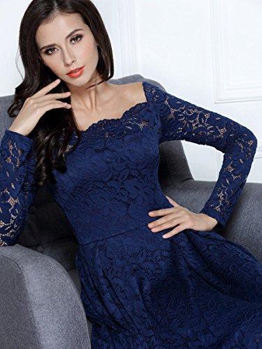 MIUSOL Robe de Soirée Bustier Dentelle Cocktail Manches Longues Femme,Fleurs Robe de Fete Col Rond Vintage Dos nu Femme Sexy Bleu