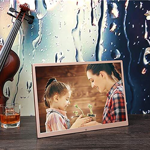 Digital Photo Frame 15,4 Zoll 1080P Electronic Photo Frame USB SD/SDHC, Uhren-und Kalenderfunktionen Digital Photo Frame Metall-Aluminium-Legierung ultradünnen schmalen Rahmen,Gold (Frame Digital Photo Touch-screen)