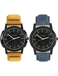 Talgo 2017 New Collection Foxter (combo Of 2) Black Round Shapped Dial Leather Strap Fashion Wrist Watch For Boys... - B0763TTPSN
